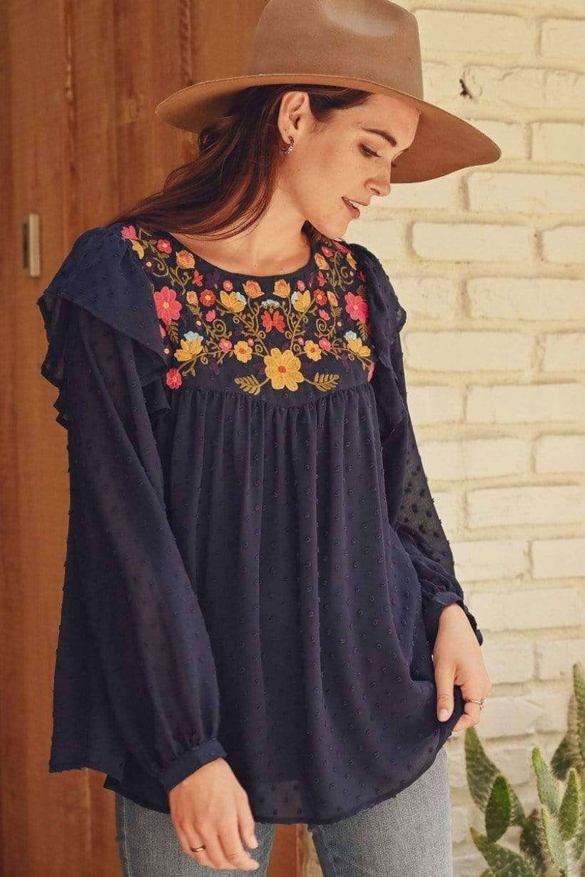 Jodifl Dressy Long Sleeve Blouse with Flower Embroidery
