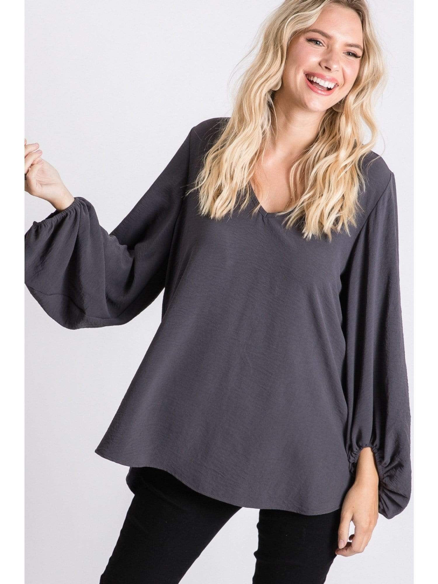 Long Sleeve V Neck Blouse - Charcoal