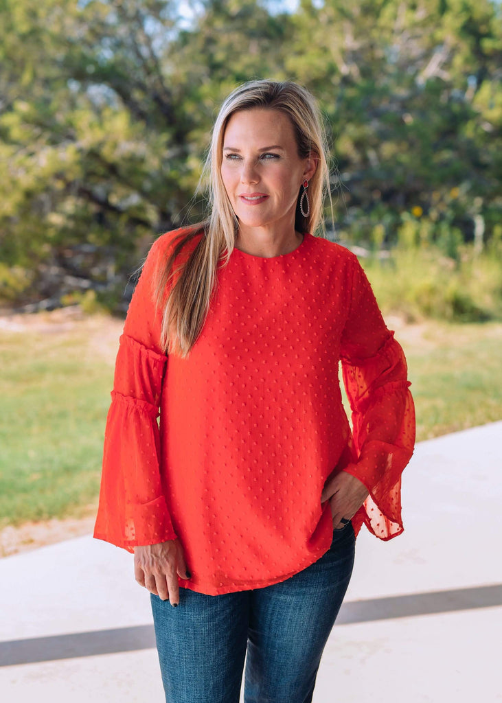 Jodifl Dressy Ruffle Sleeve Flowy Top - Red