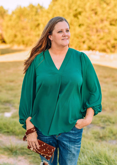 Jodifl Dressy V Neck Blouse With Bubble Sleeves - Hunter Green
