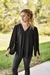 Jodifl Dressy V Neck Bubble Sleeve Blouse Black