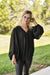 V Neck Bubble Sleeve Blouse Black