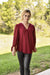 V Neck Bubble Sleeve Blouse Burgundy