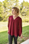 Jodifl Dressy V Neck Bubble Sleeve Blouse Burgundy