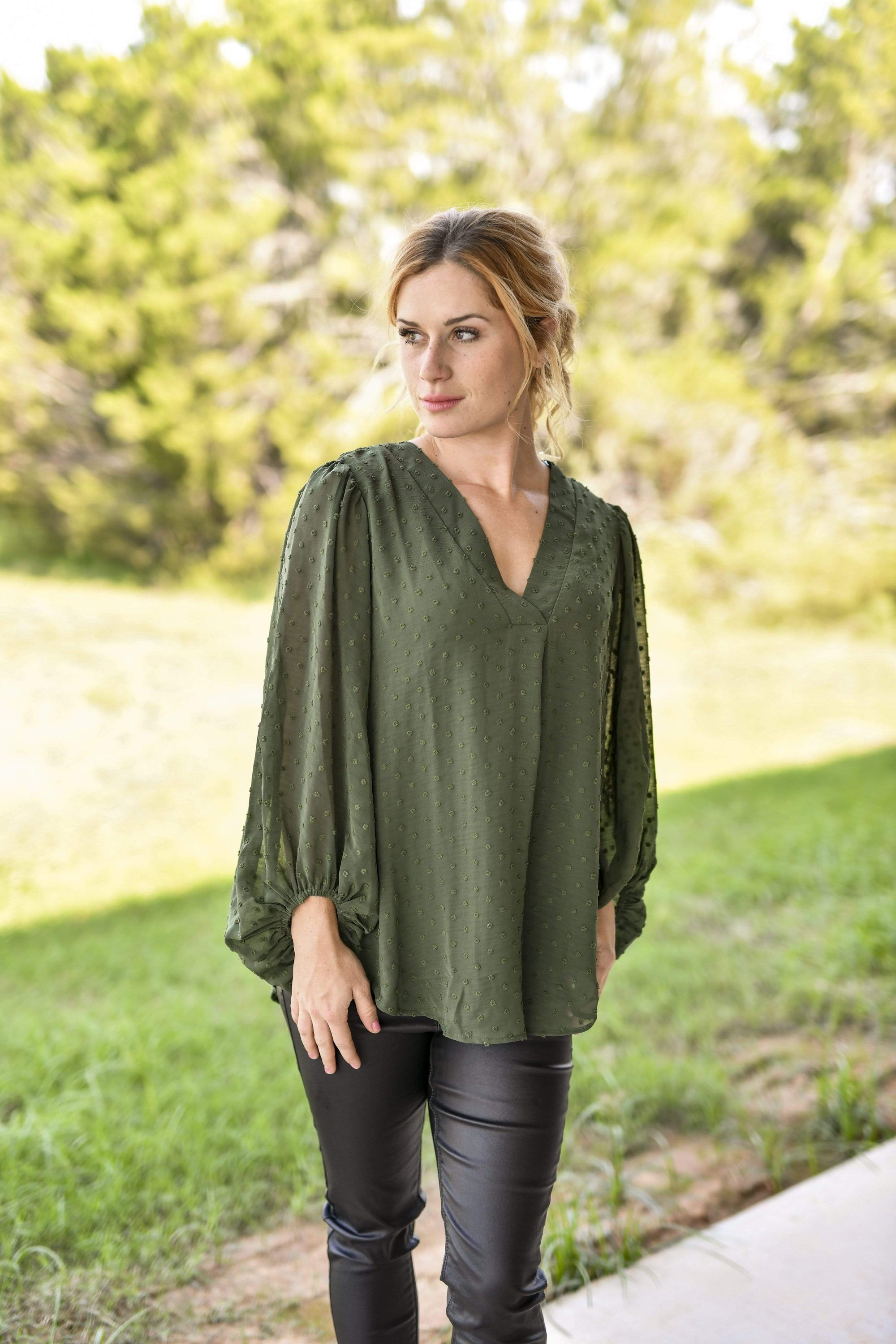 V Neck Bubble Sleeve Blouse Olive