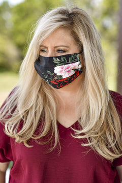 SILK CHARMEUSE MASK - Midnight Floral