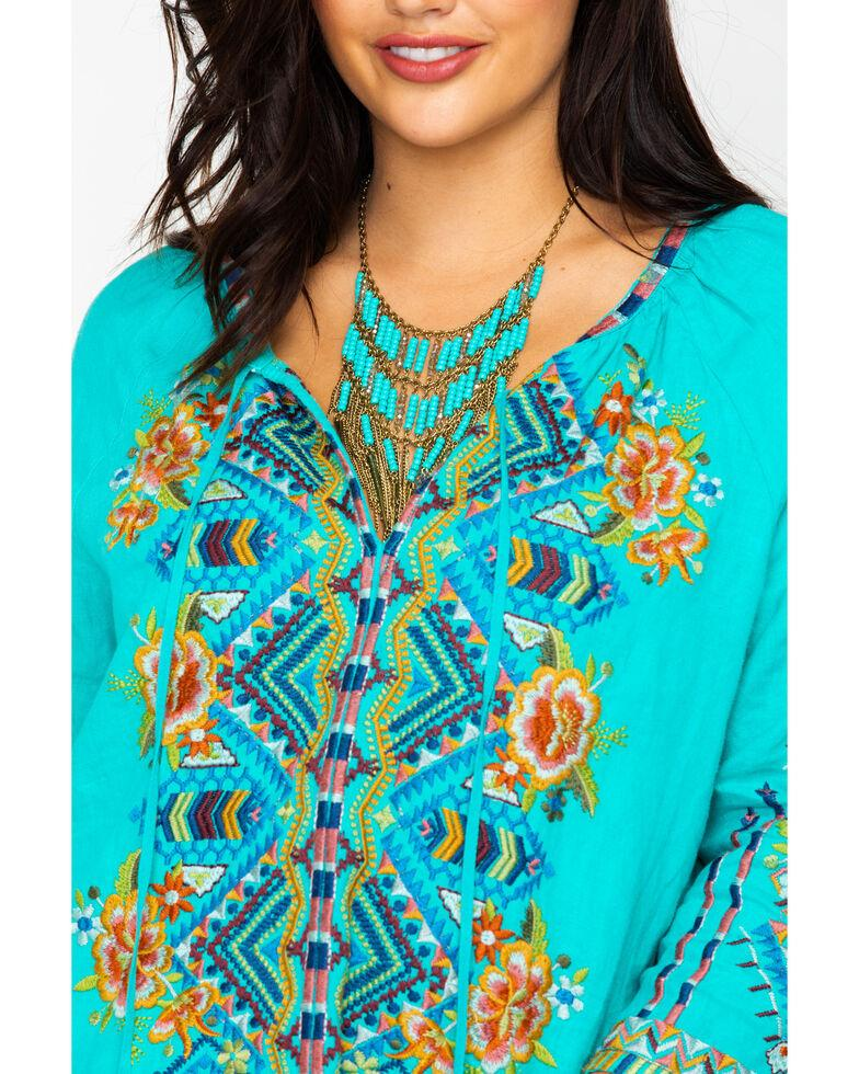 Johnny Was Dressy Sentrie Peasant Blouse - Turquoise