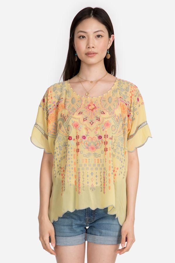 Johnny Was Dressy Vanna Blouse - Mellow Yellow