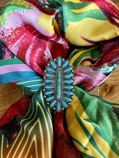 Joia Accessories Specialty Turquoise & Silver Scarf Slide