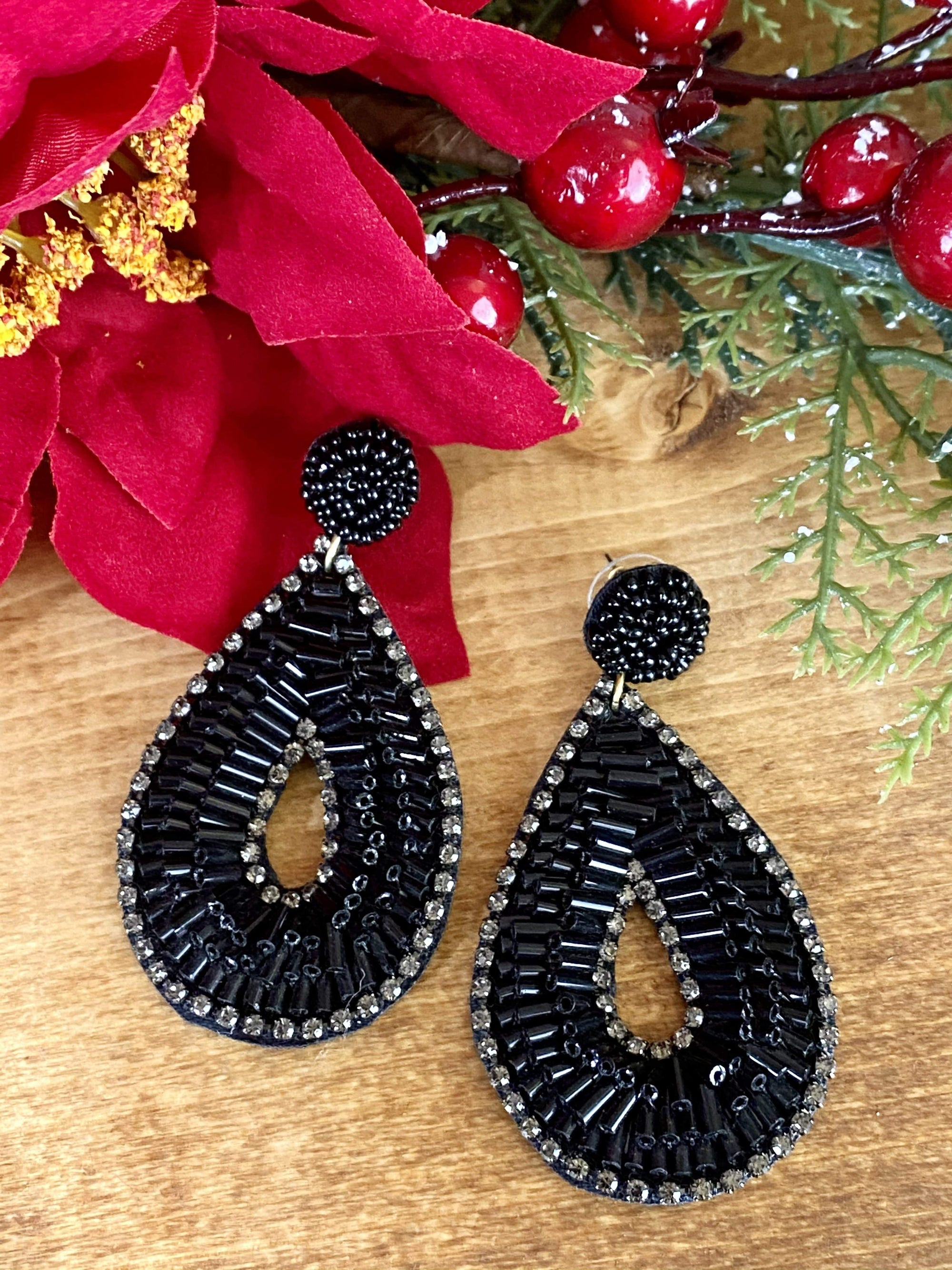 Joia Fashion Earrings Jazz Black Beaded Teardrop Earrings