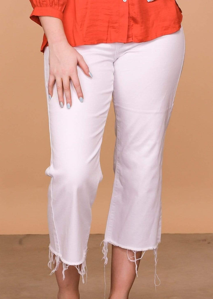 Judy Blue Capris White Hi Waist Wide Leg- White