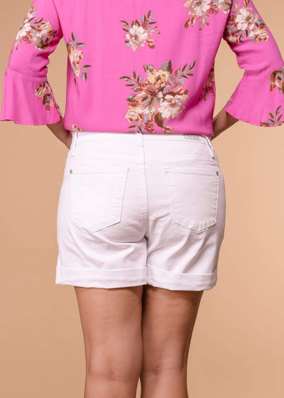 Judy Blue Shorts Rolled Cuff Distressed White Shorts