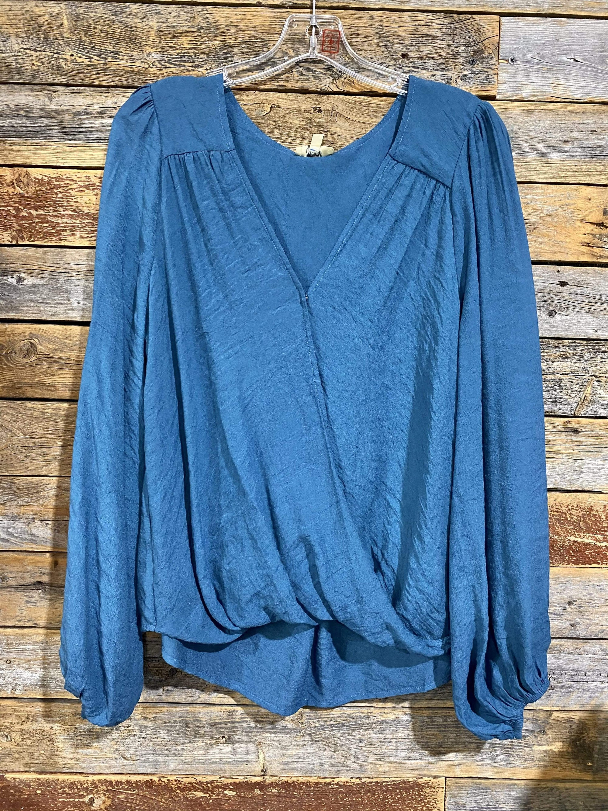 Kori Dressy Long Sleeve Woven Top-Teal Blue