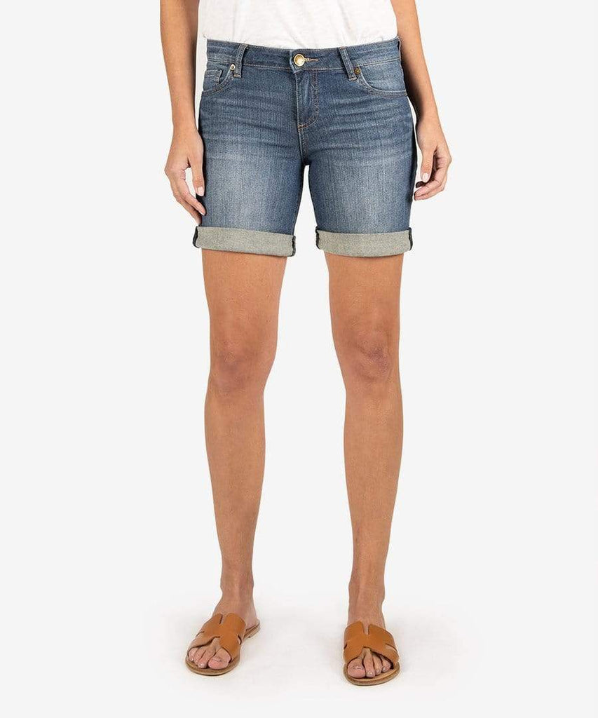 Kut from the Kloth Shorts Denim Rolled Cuff Distressed Shorts - Medium Wash