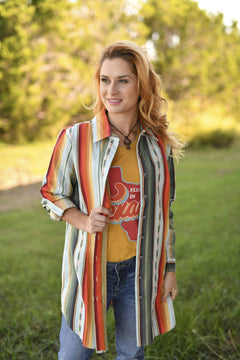 Long Serape Button Down Shirt - Mint