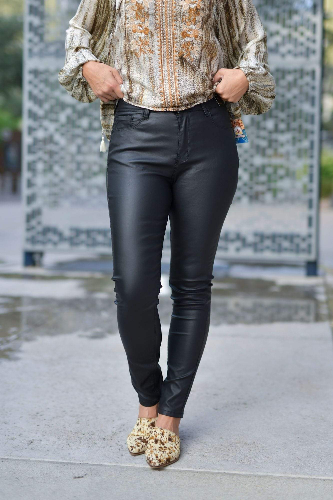 L&B Full Length Black Faux Leather Mid Rise Skinny Pant