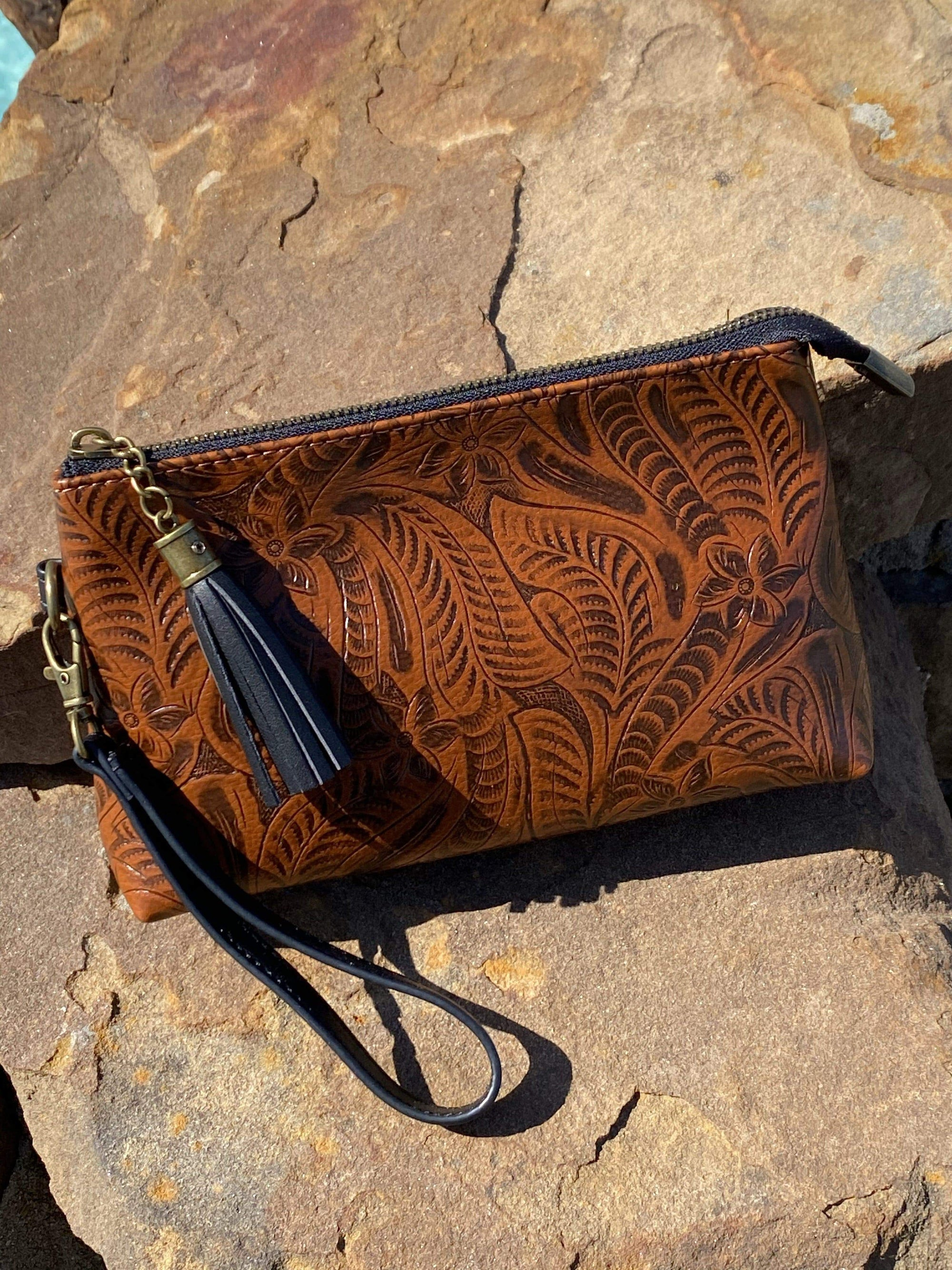 L&B Handbags Brown Tooled Wristlet