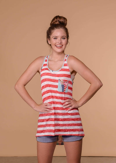 Lovely J Casual Stars And Stripes Tank - Floral Cow Skull