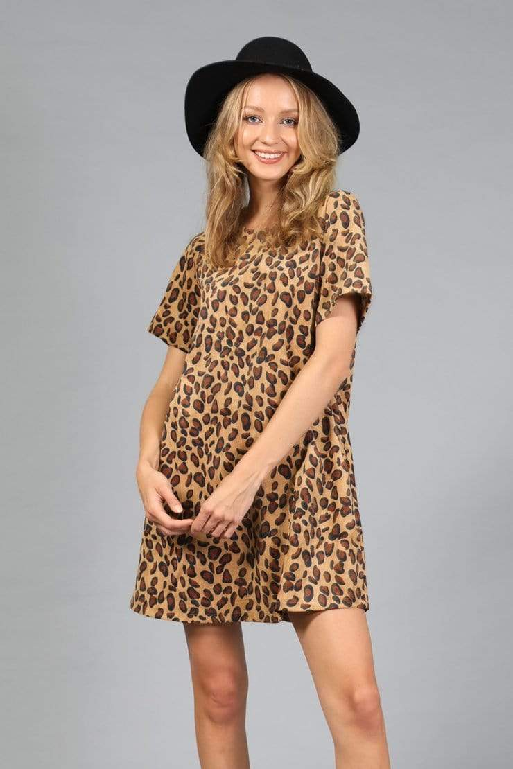 Loveriche Dresses Leopard Print Corduroy Mini Dress