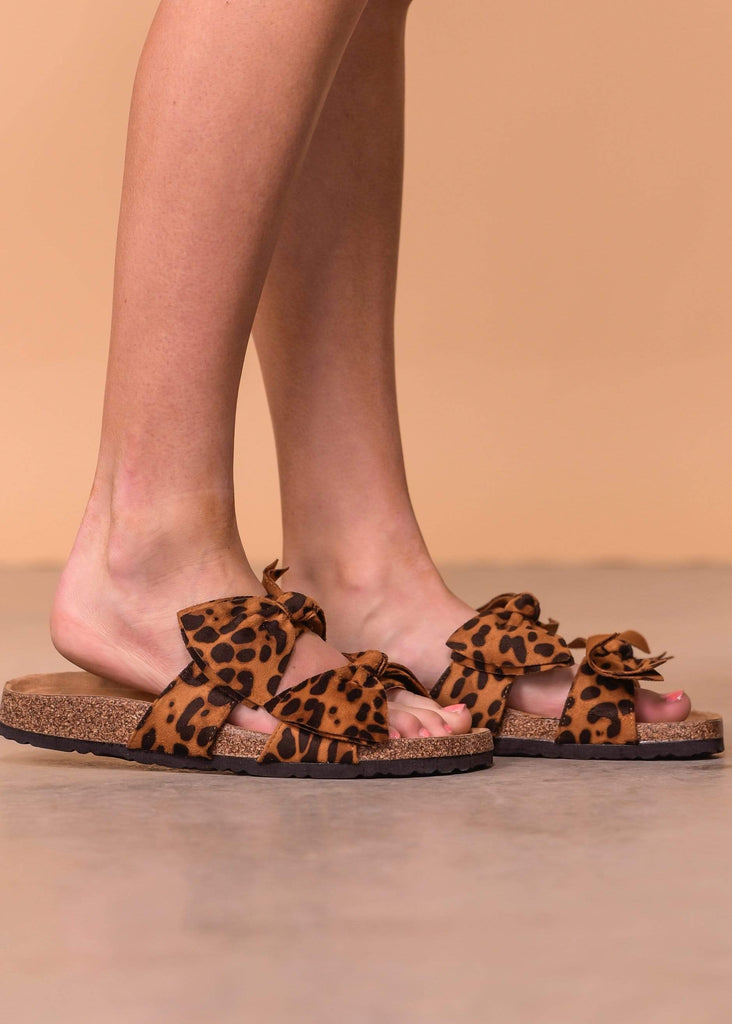 Mata Shoes Sandals Double Bow Tie Footbed Sandal - Leopard