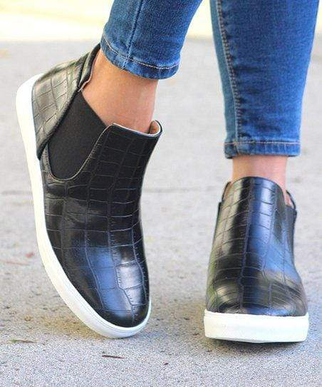 Black Croc Print Ankle Slip On Shoe