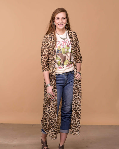 Oddi Cardigans Leopard Print Sheer Button Down Duster