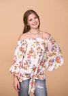 Oddi Dressy Floral Pattern Off the Shoulder Top