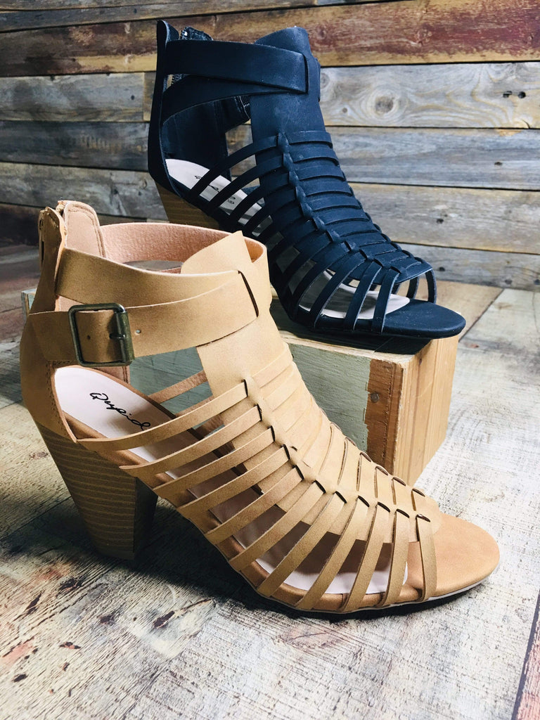 Qupid Sandals Huarache Heeled Sandal