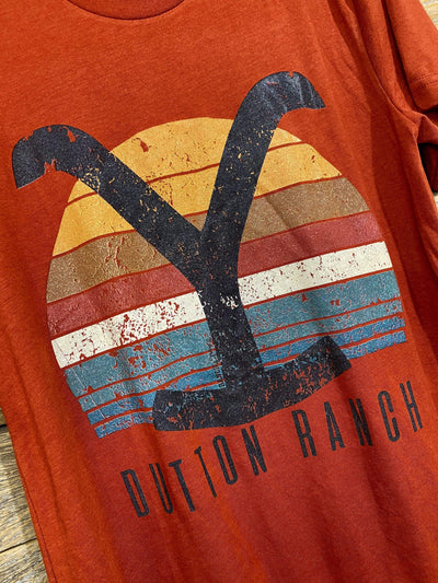 Ranch Swag Graphic Tees Dutton Ranch Sunset Graphic Tee - Brick