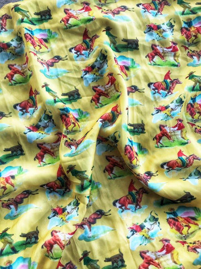 Ritzy Gypsy Accessories Specialty Yellow Vintage Cowboy Wildrag-Yellow