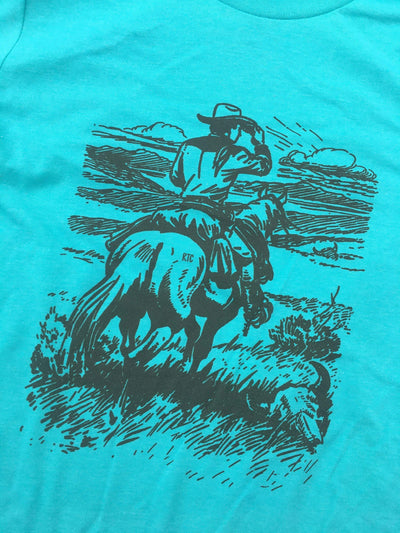 Rowdy Texan Graphic Tees Ranch Cowboy T Shirt - Turquoise