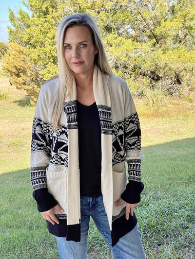 Saints & Hearts Casual Open Front Cardigan Print Sweater