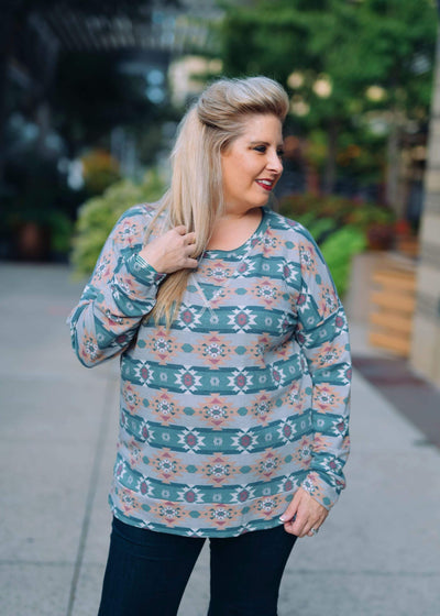 Sew In Love Casual Aztec Sweater-Indigo/Navy