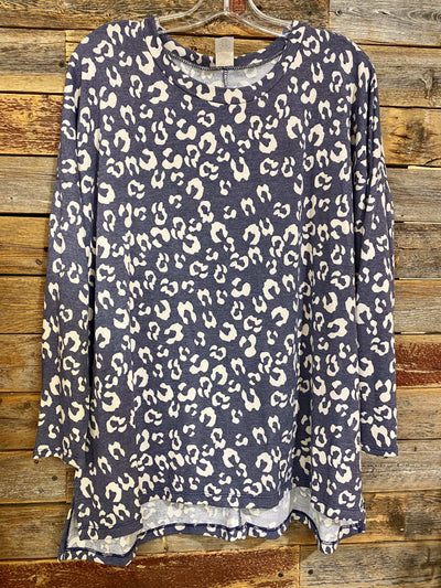 Sew In Love Casual Long Sleeve Leopard Top- Navy