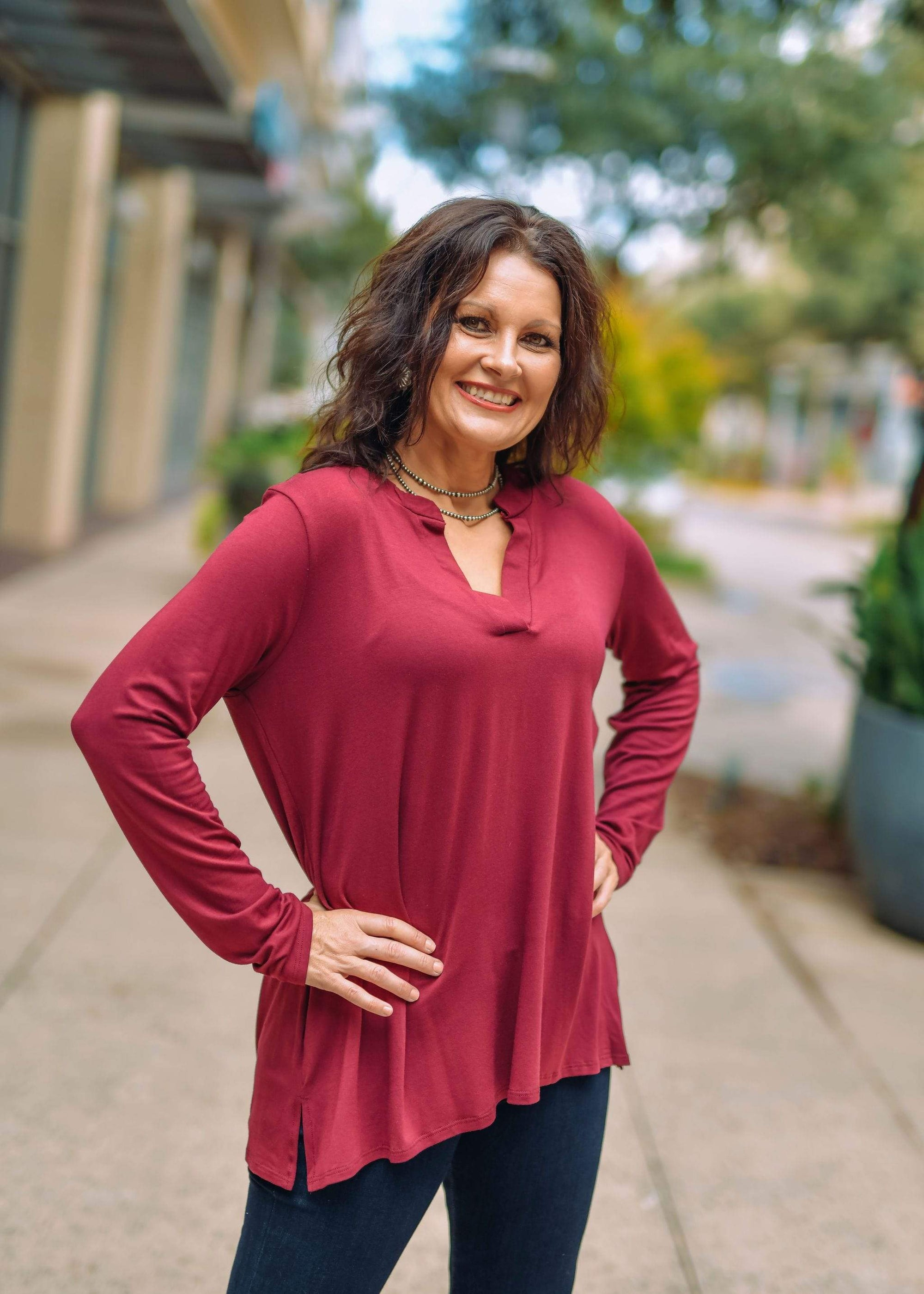 Sew In Love Casual Long Sleeve V Neck Blouse -Burgundy