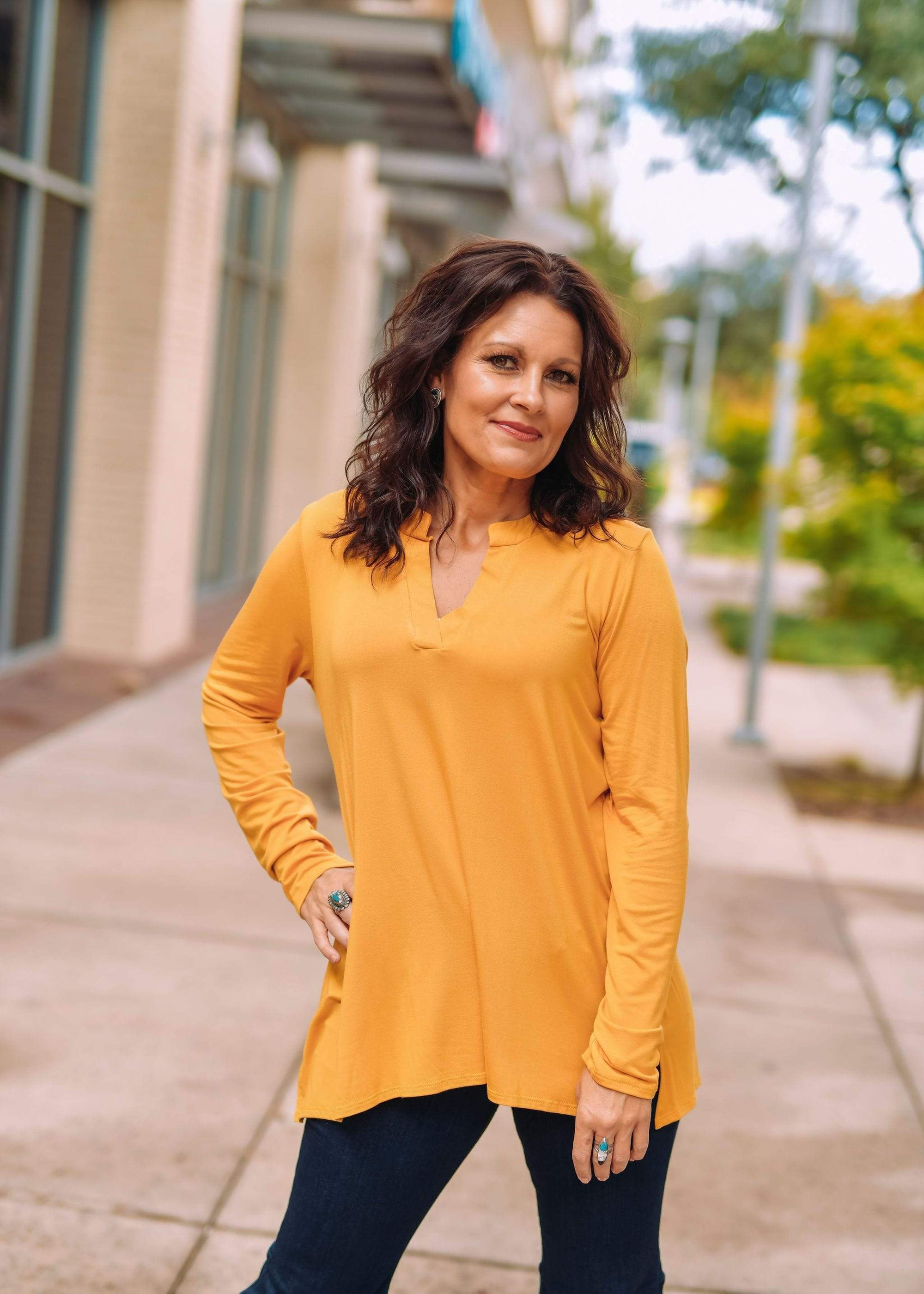 Sew In Love Casual Long Sleeve V Neck Blouse Mustard