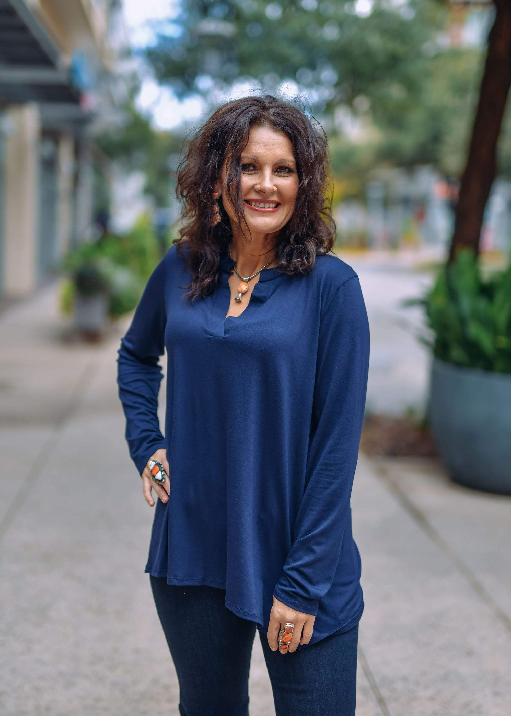Sew In Love Casual Long Sleeve V Neck Blouse-Navy