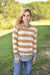 Sew In Love Casual Mustard Striped Leopard Long Sleeve Top