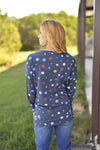 Sew in Love Casual Navy Polka Dot Weekender Top