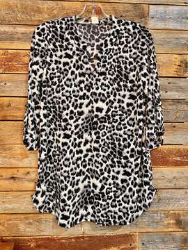 Leopard Mock V Neck Blouse
