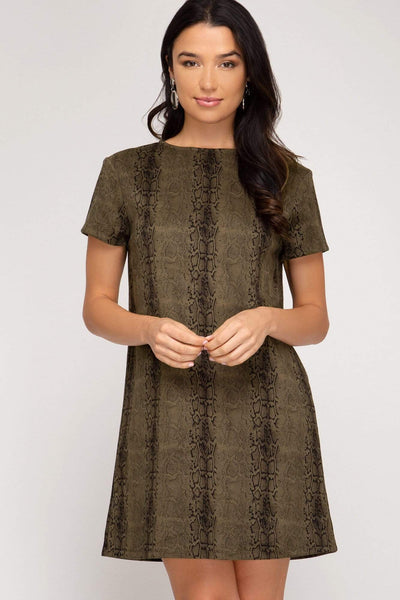 She & Sky Dresses Short Sleeve Animal Print Faux Suede Shift Dress