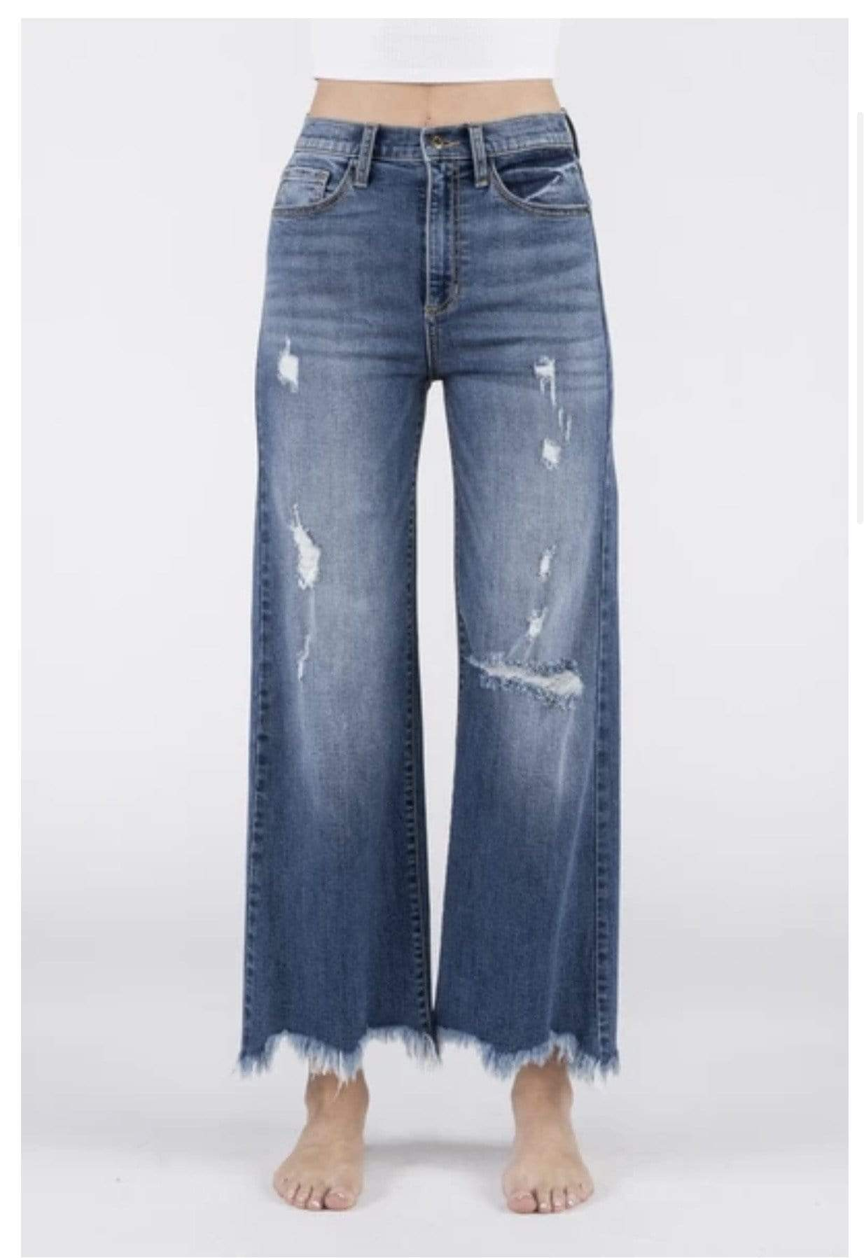 High Rise Distressed Jeans - Medium Dark