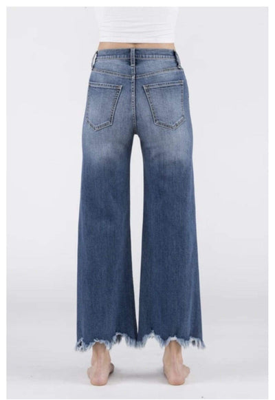 Sneak Peek Full Length High Rise Distressed Jeans - Medium Dark
