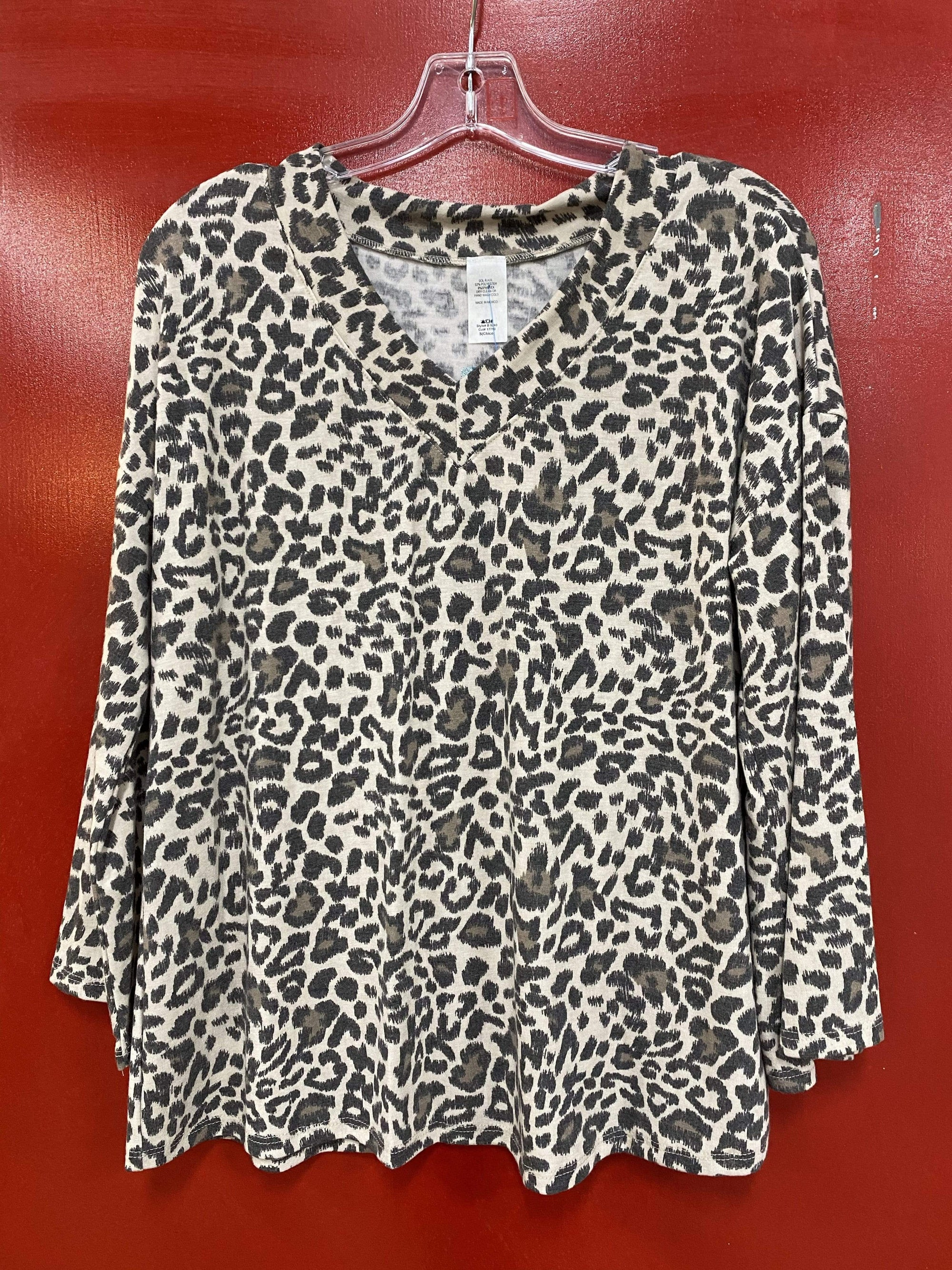 V Neck Long Sleeve Mocha Leopard Print Top
