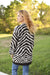 Zebra Print Sweater Cardigan -Taupe/Brown