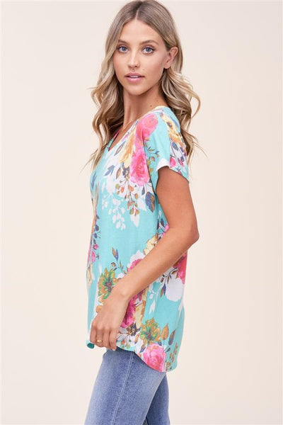Staccato Casual Aloha Floral Print Knit Top - Mint