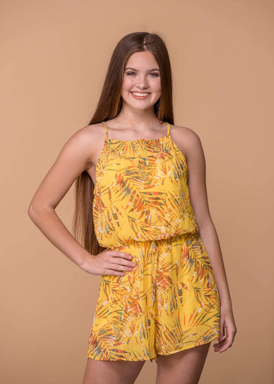 Staccato Dresses Smocked Square Neck Romper - Yellow