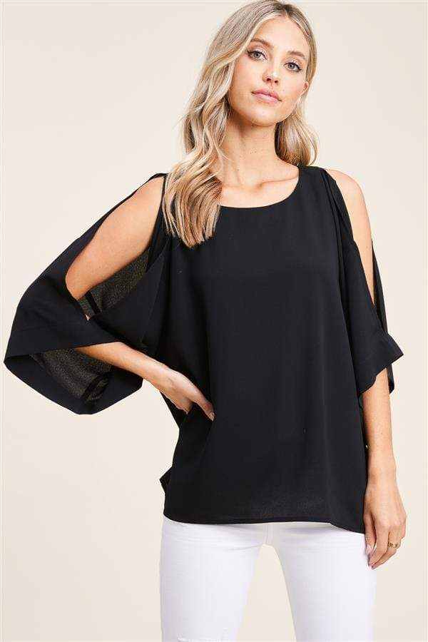 Cara Cold Shoulder Blouse - Black