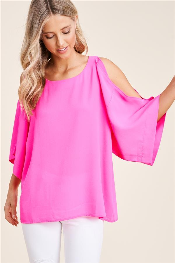 Cara Cold Shoulder Blouse - Hot Pink