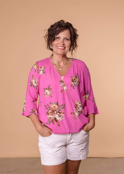 Staccato Dressy Fuschia / Small Wrap Front Floral Print Blouse - Turquoise & Fuschia